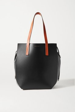 Gusset Color-block Leather Tote - Black