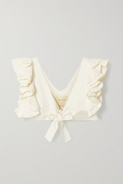 Le Cercle Cropped Ruffled Cotton And Silk-blend Faille Top - Ivory