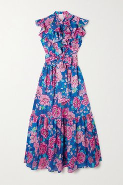 Paola Belted Ruffled Tiered Floral-print Cotton-voile Midi Dress - Blue