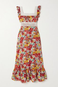 Margherita Lace-trimmed Tiered Floral-print Cotton-voile Midi Dress