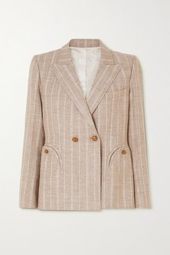 Wind Hunter Charmer Double-breasted Pinstriped Grain De Poudre Blazer - Sand