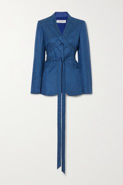 Belted Wool And Silk-blend Blazer - Cobalt blue