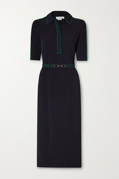 Witley Belted Striped Cady Shirt Dress - Navy