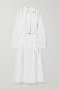 Vera Belted Pintucked Cotton-voile Midi Shirt Dress - White