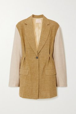 Leonie Oversized Two-tone Silk, Linen And Wool-blend Blazer - Army green