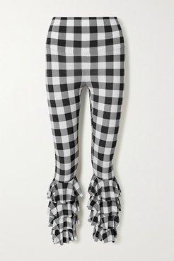 Ruffled Checked Stretch-jersey Leggings - Black