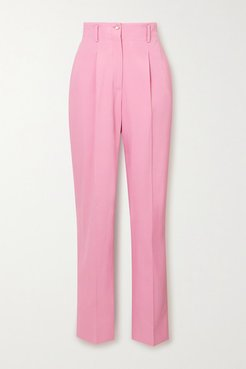Marlene Pleated Twill Tapered Pants - Pink