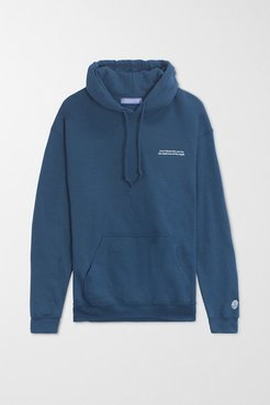 Don't Blame Sun Oversized Embroidered Cotton-blend Jersey Hoodie - Petrol