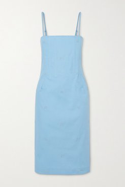 Net Sustain Degas Embroidered Stretch-cotton Chambray Dress - Blue
