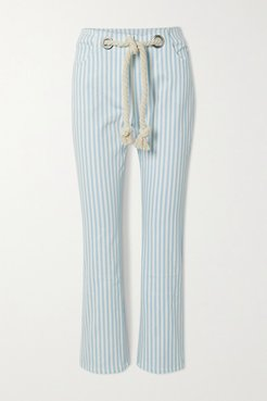 Tommy Cropped Belted Striped Straight-leg Jeans - Light denim