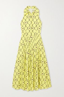 Avalia Pleated Printed Cloqué Midi Dress - Light green