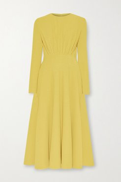 Jorgie Ruched Crepe Midi Dress - Yellow