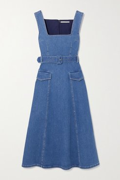 Petra Belted Stretch-denim Midi Dress - Mid denim