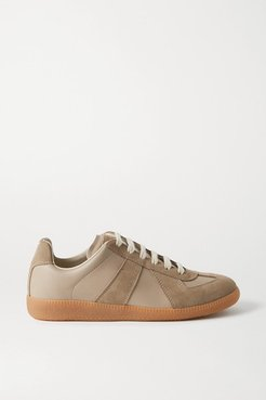 Replica Leather And Suede Sneakers - Taupe
