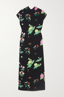 Valentine Floral-print Crepe Midi Dress - Black