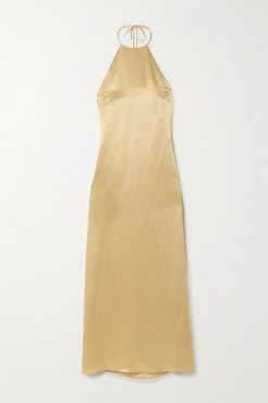 Jack Silk-satin Halterneck Midi Dress - Gray