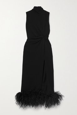 Maika Feather-trimmed Knotted Crepe Midi Dress - Black