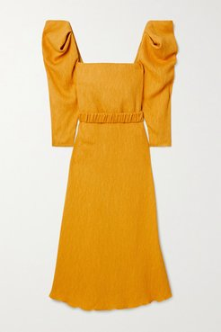 Lotus And Beetle Belted Textured Woven Midi Dress - Yellow