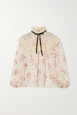 Velvet-trimmed Embroidered Tulle And Floral-print Chiffon Blouse - Ivory