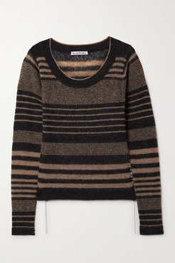 Whipstitched Striped Knitted Sweater - Black