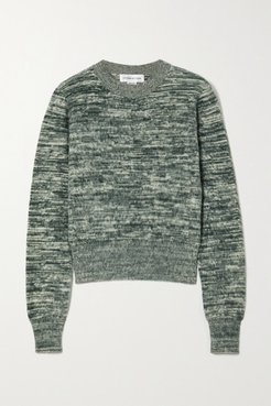 Mélange Brushed-cotton Sweater - Green