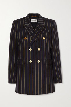 Double-breasted Pinstriped Wool-twill Blazer - Navy