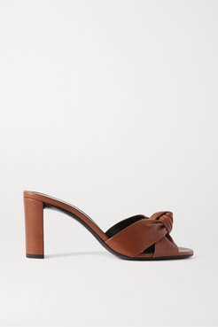 Bianca Knotted Leather Mules - Tan