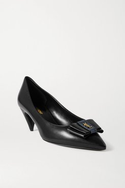 Anais Bow-embellished Glossed-leather Pumps - Black