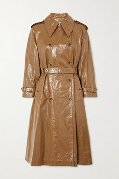 Belted Double-breasted Crinkled Glossed-leather Trench Coat - Tan