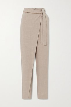 Emma Belted Layered Mélange Woven Tapered Pants - Beige