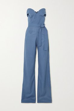 Strapless Belted Woven Jumpsuit - Blue