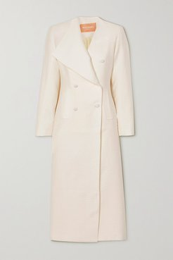 Double-breasted Cloqué Coat - White