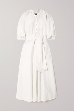 Argentina Belted Linen And Silk-blend Midi Dress - White