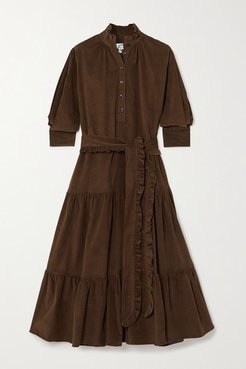 Phoebe Belted Tiered Cotton-corduroy Midi Dress - Brown