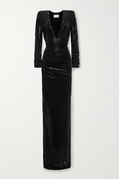 Ruched Crystal-embellished Stretch-jersey Gown - Black