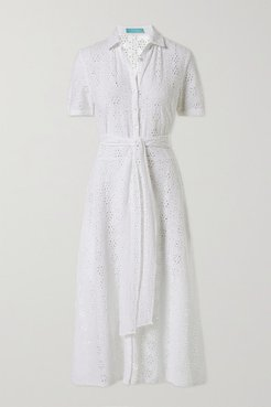 Vanessa Belted Broderie Anglaise Cotton Midi Shirt Dress - White