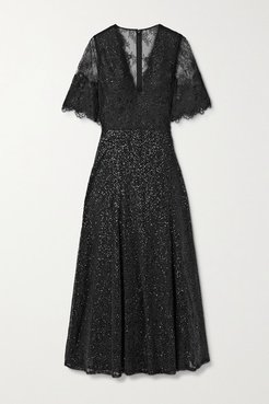 Leigh Sequined Chantilly Lace Midi Dress - Black