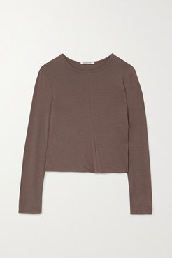 Twisted Stretch-jersey Top - Light brown