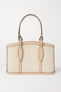The Small Basket Leather-trimmed Woven Fique Tote - Cream