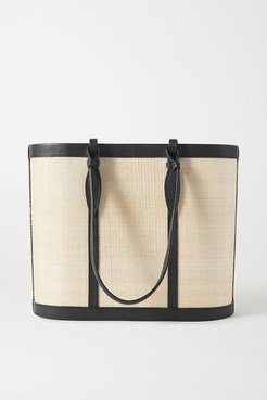 The Basket Leather-trimmed Woven Fique Tote - Black