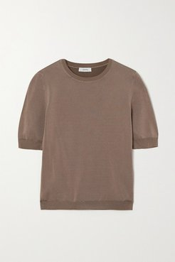 Net Sustain Ondina Ribbed Stretch-knit Top - Brown