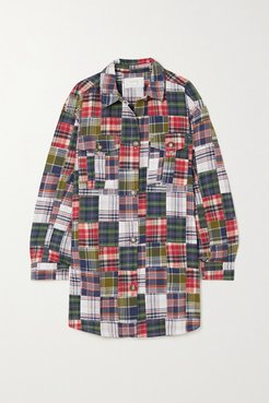 Patchwork Checked Cotton-flannel Shirt - Blue