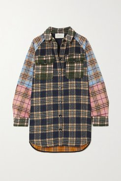 Patchwork Checked Flannel Shirt - Navy