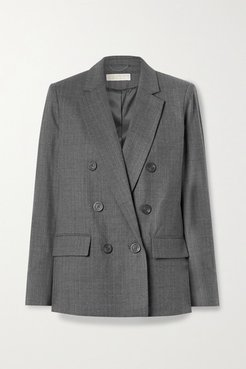 Double-breasted Wool-blend Blazer - Gray