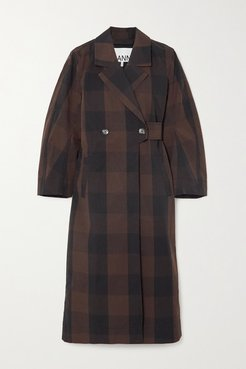 Belted Double-breasted Checked Cotton-blend Coat - Brown