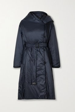The Cube Cameluxe Belted Hooded Padded Shell Coat - Midnight blue