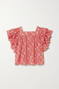 Marcy Ruffled Floral-print Cotton Blouse - Red