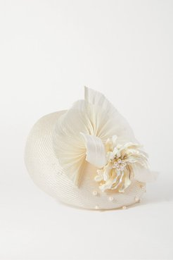 Anne Pearl-embellished Silk And Abaca-blend Hat - White