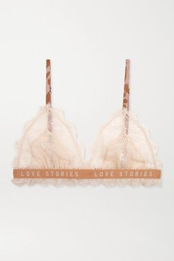 Love Lacy Satin-trimmed Stretch-lace Soft-cup Triangle Bra - Ivory