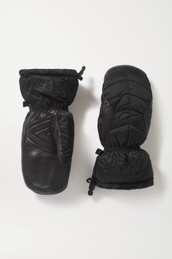 Selia Padded Leather And Shell Ski Mittens - Black